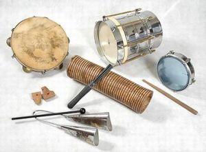 Typical Samba Instruments: Pandeiro, tamborim, cuíca, apito, reco-reco, agogô